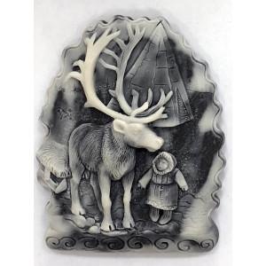 Девочка с оленем (барельеф) / магнит